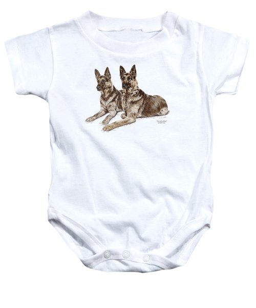 Two Of A Kind - German Shepherd Dogs Print Color Tinted Baby Onesie