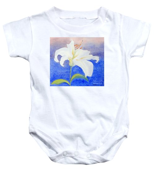 White Lily Baby Onesie