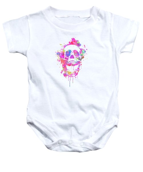 Cool And Trendy Pink Watercolor Skull Baby Onesie