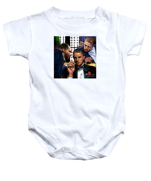 Sub Rosa The Council Of Made Men Iron Sharpening Iron Baby Onesie by Reggie Duffie