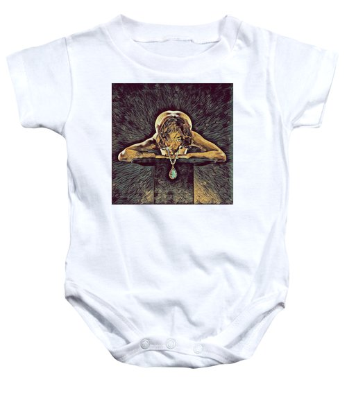 0756s-zac Nude Woman With Amulet On Tall Pedestal  Baby Onesie