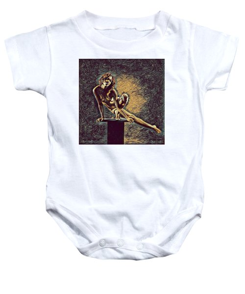 0953s-zac Casual Balance Black Dancer Graceful Strong In The Style Of Antonio Bravo Baby Onesie