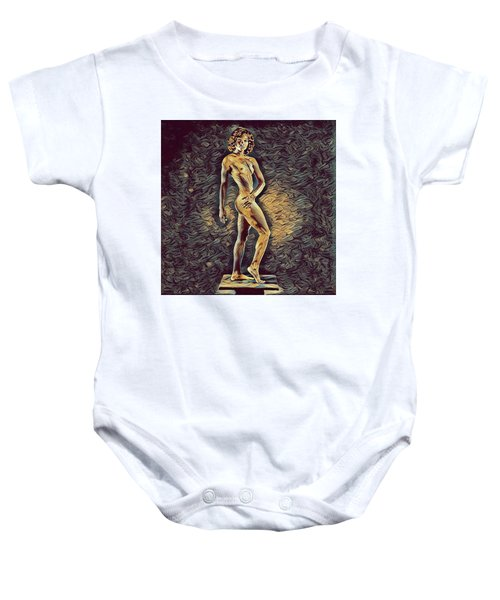 0957s-zac Fit Black Dancer Standing On Platform Baby Onesie