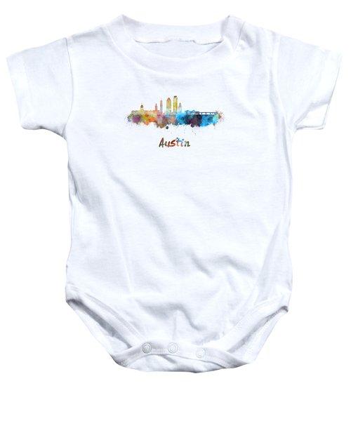 Austin Skyline In Watercolor Baby Onesie by Pablo Romero