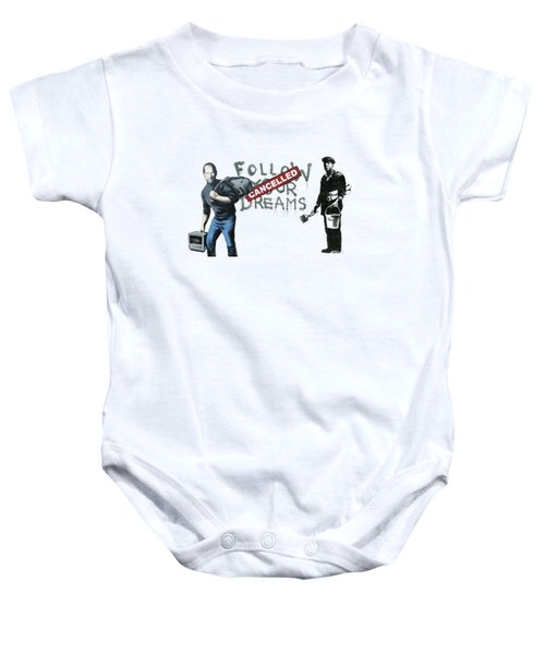 Banksy - The Tribute - Follow Your Dreams - Steve Jobs Baby Onesie by Serge Averbukh