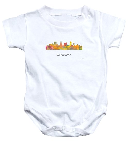 Barcelona Spain Skyline Baby Onesie by Marlene Watson