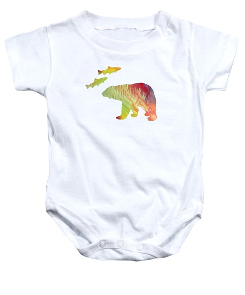 Bear And Salmon Baby Onesie