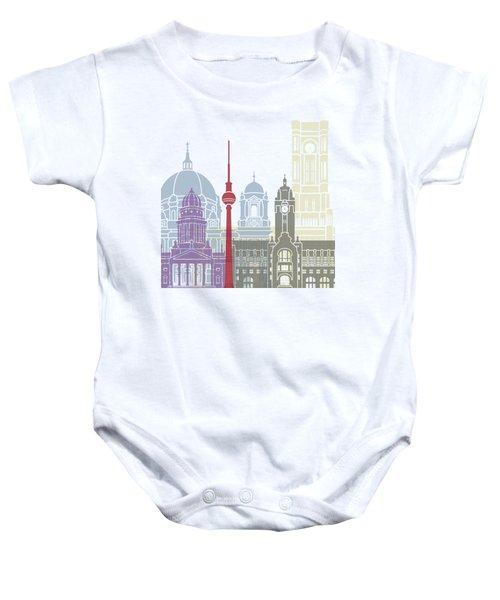 Berlin Skyline Poster Baby Onesie by Pablo Romero