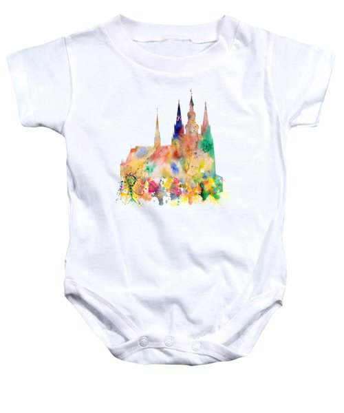 Cathedral Of Saint Vitus In The Prague Castle Watercolor Art Baby Onesie