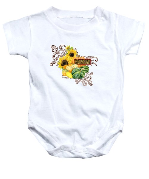 Celebrate Abundance - Harvest Fall Pumpkins Squash N Sunflowers Baby Onesie