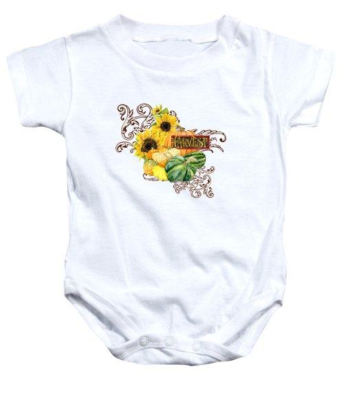 Celebrate Abundance - Harvest Fall Pumpkins Squash N Sunflowers Baby Onesie
