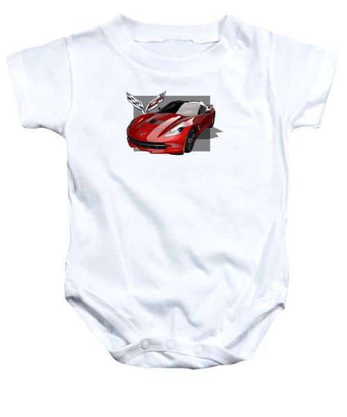 Chevrolet Corvette  C 7  Stingray With 3 D Badge  Baby Onesie by Serge Averbukh