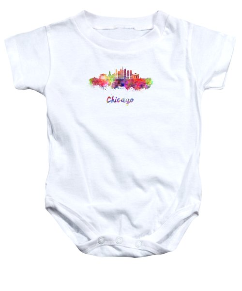 Chicago Skyline In Watercolor Baby Onesie by Pablo Romero