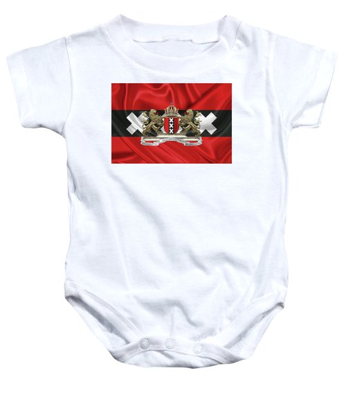 Coat Of Arms Of Amsterdam Over Flag Of Amsterdam Baby Onesie