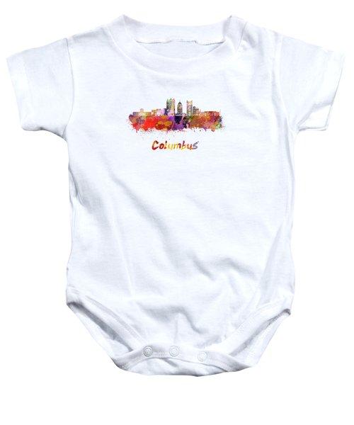 Columbus Skyline In Watercolor Baby Onesie