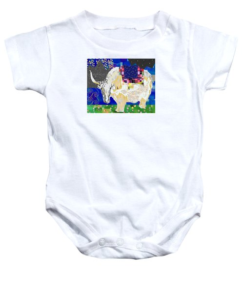 Stay Curious Cow Collage  Baby Onesie