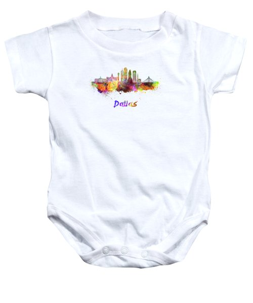 Dallas Skyline In Watercolor Baby Onesie by Pablo Romero
