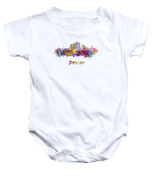 Denver Skyline In Watercolor Baby Onesie