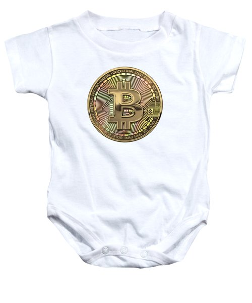 Gold Bitcoin Effigy Over White Leather Baby Onesie