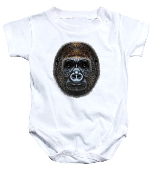 Illustrated Portrait Of Gorilla Male. Baby Onesie