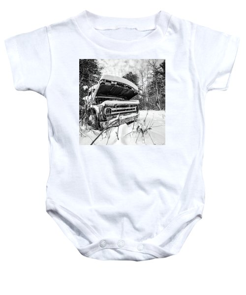 Old Abandoned Pickup Truck In The Snow Baby Onesie