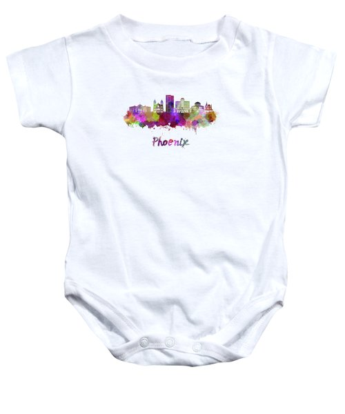 Phoenix Skyline In Watercolor Baby Onesie by Pablo Romero