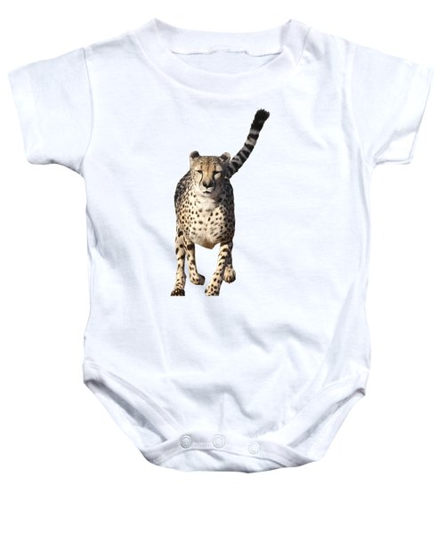 Running Cheetah, Isolated On White Background Baby Onesie