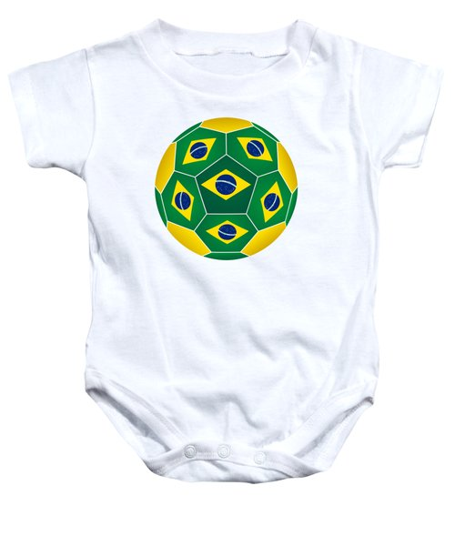 Soccer Ball With Brazilian Flag Baby Onesie