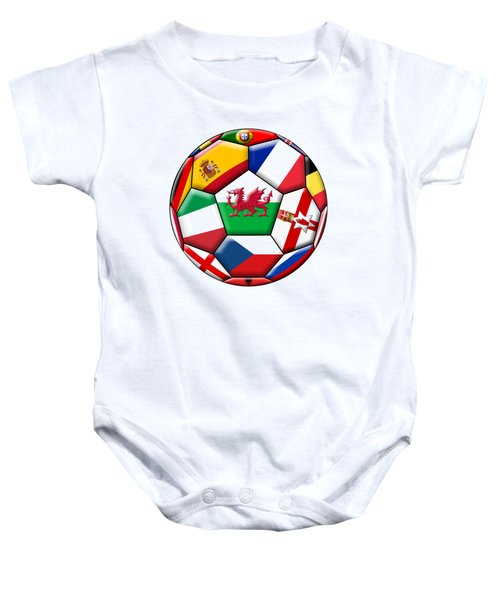 Soccer Ball With Flag Of  Wales In The Center Baby Onesie