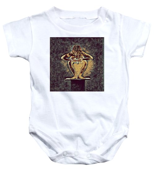 1083s-zac Dancer Squatting On Pedestal With Amulet Nudes In The Style Of Antonio Bravo  Baby Onesie