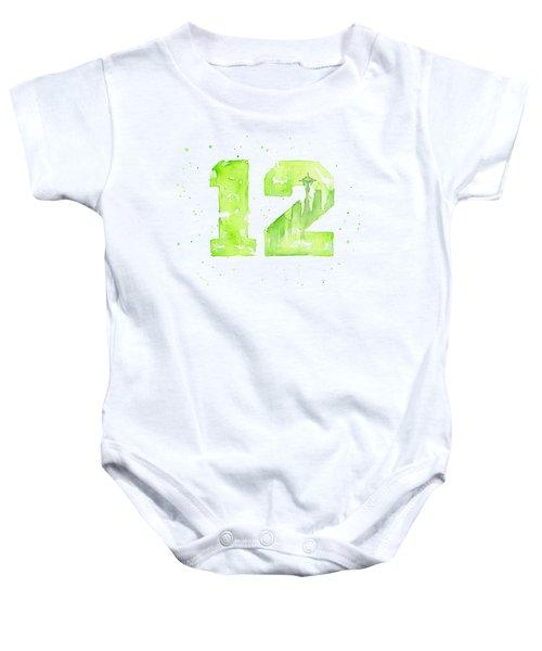 12th Man Seahawks Art Go Hawks Baby Onesie