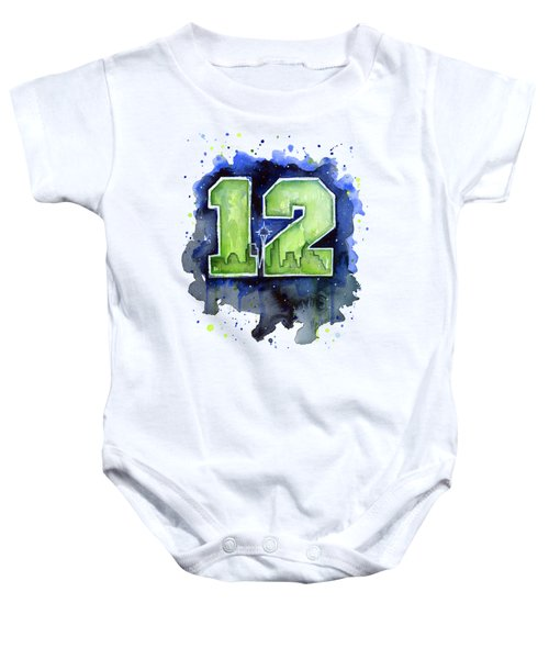 12th Man Seahawks Art Seattle Go Hawks Baby Onesie by Olga Shvartsur