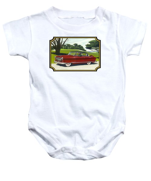 1953 Nash Rambler Car Americana Rustic Rural Country Auto Antique Painting Red Golf Baby Onesie