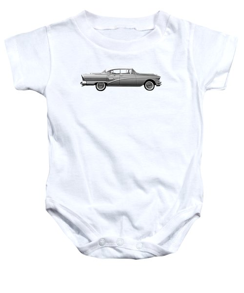 1958 Buick Roadmaster 75 In Black And White Baby Onesie