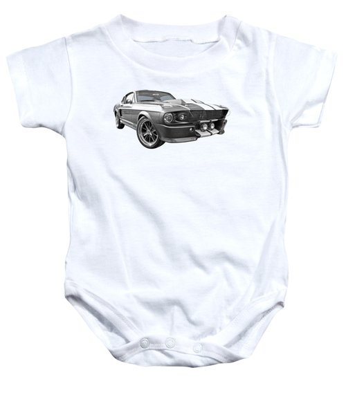 1967 Eleanor Mustang In Black And White Baby Onesie