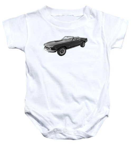 1970 Mach 1 Mustang 351 Cleveland In Black And White Baby Onesie