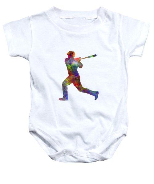 Baseball Player Hitting A Ball Baby Onesie by Pablo Romero