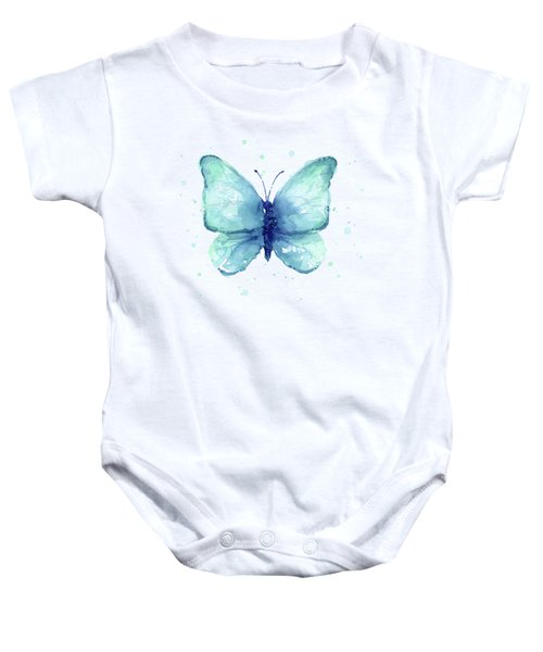 Blue Butterfly Watercolor Baby Onesie