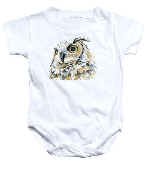 Great Horned Owl Watercolor Baby Onesie