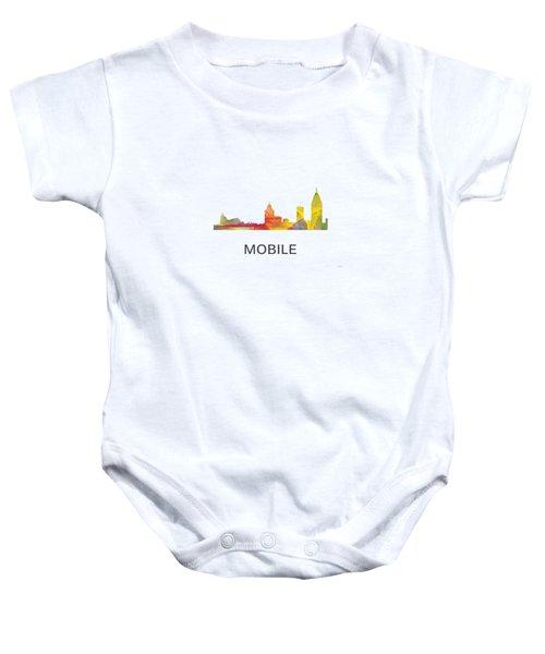 Mobile Alabama Skyline Baby Onesie by Marlene Watson