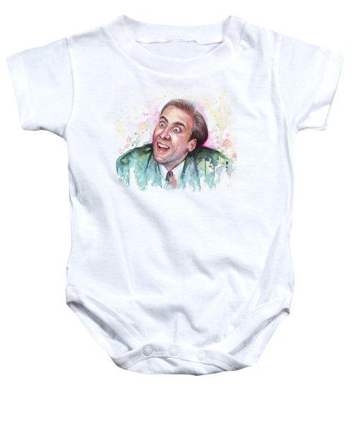 Nicolas Cage You Don't Say Watercolor Portrait Baby Onesie by Olga Shvartsur