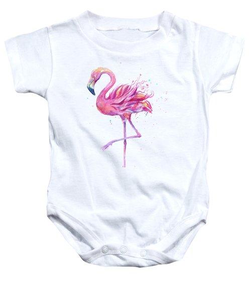 Pink Flamingo Watercolor Baby Onesie