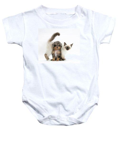 Puppy And Kitten Baby Onesie
