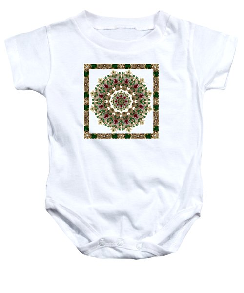 Baby Onesie featuring the digital art Ruby And Emerald Kaleidoscope by Charmaine Zoe