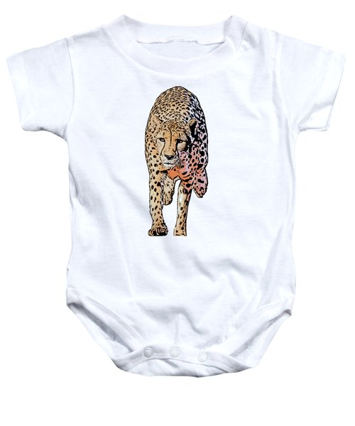 Running Cheetah, Isolated On White Background, Cartoonized Style #1 Baby Onesie