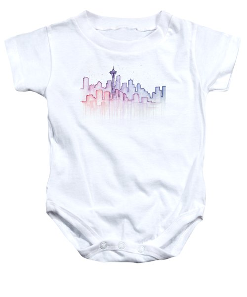Seattle Skyline Watercolor Baby Onesie by Olga Shvartsur