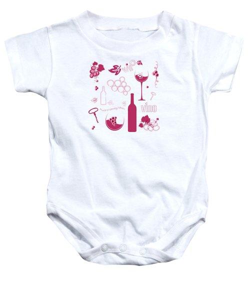 Wine Background Pattern Baby Onesie by Serena King
