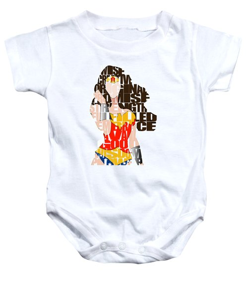 Wonder Woman Inspirational Power And Strength Through Words Baby Onesie by Marvin Blaine