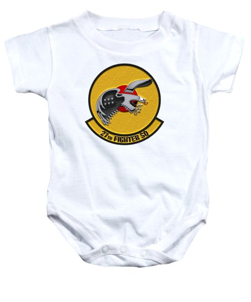 27th Fighter Squadron - 27 Fs Patch Over White Leather Baby Onesie by Serge Averbukh
