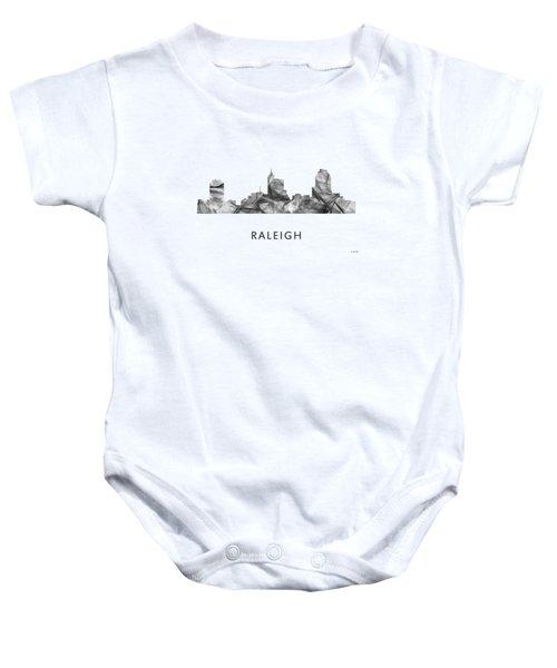 Raleigh North Carolina Skyline Baby Onesie by Marlene Watson
